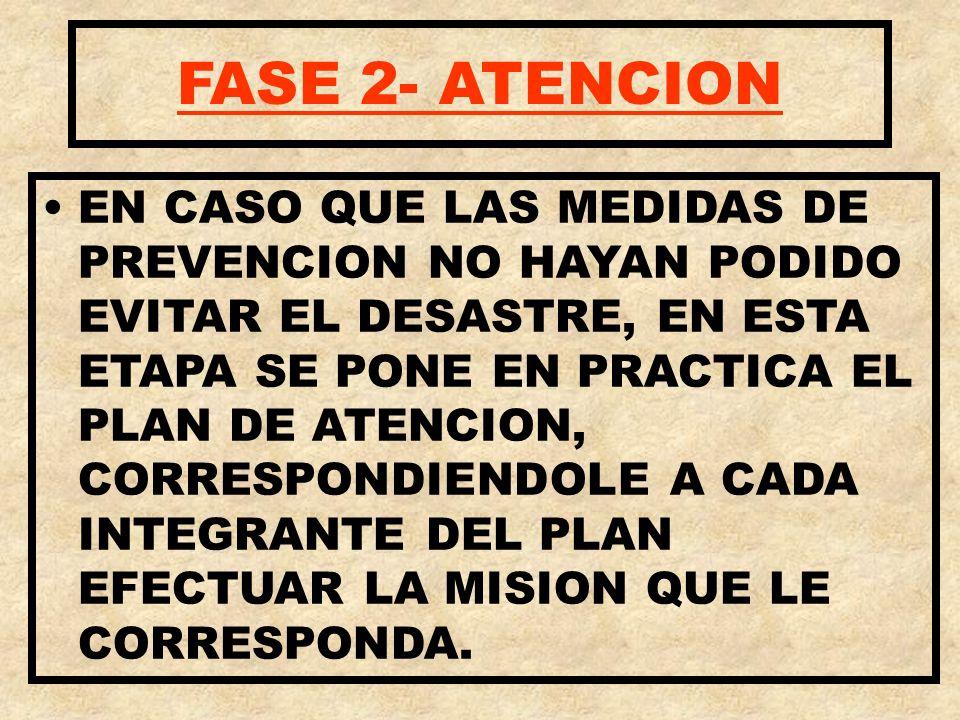 FASE 2- ATENCION EN CASO QUE LAS MEDIDAS DE PREVENCION NO HAYAN PODIDO EVITAR EL DESASTRE, EN ESTA ETAPA SE PONE EN PRACTICA EL PLAN DE ATENCION, CORR