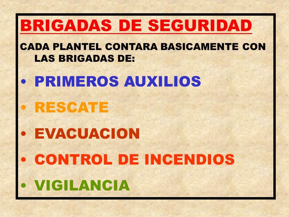 BRIGADAS DE SEGURIDAD CADA PLANTEL CONTARA BASICAMENTE CON LAS BRIGADAS DE: PRIMEROS AUXILIOS RESCATE EVACUACION CONTROL DE INCENDIOS VIGILANCIA