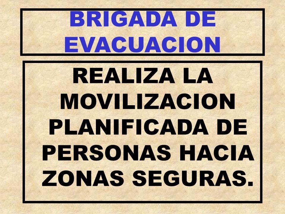 BRIGADA DE EVACUACION REALIZA LA MOVILIZACION PLANIFICADA DE PERSONAS HACIA ZONAS SEGURAS.