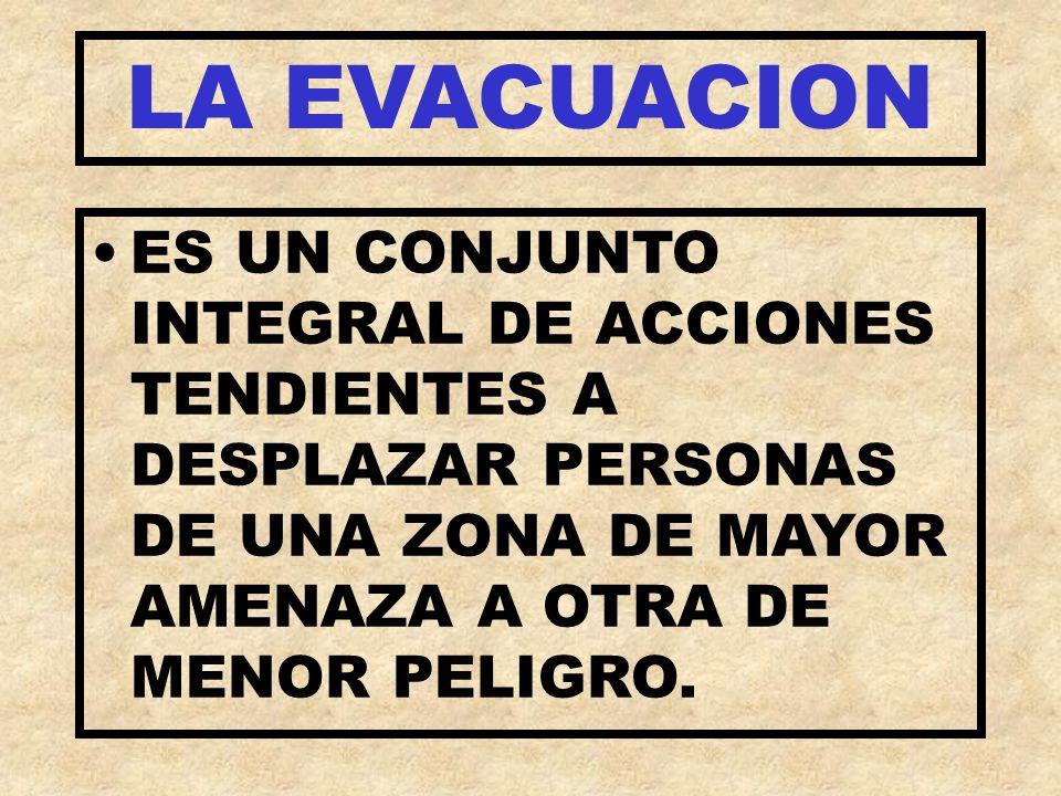LA EVACUACION ES UN CONJUNTO INTEGRAL DE ACCIONES TENDIENTES A DESPLAZAR PERSONAS DE UNA ZONA DE MAYOR AMENAZA A OTRA DE MENOR PELIGRO.