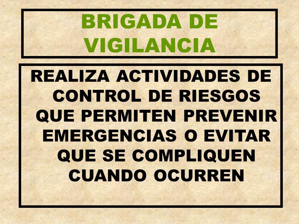BRIGADA DE VIGILANCIA REALIZA ACTIVIDADES DE CONTROL DE RIESGOS QUE PERMITEN PREVENIR EMERGENCIAS O EVITAR QUE SE COMPLIQUEN CUANDO OCURREN