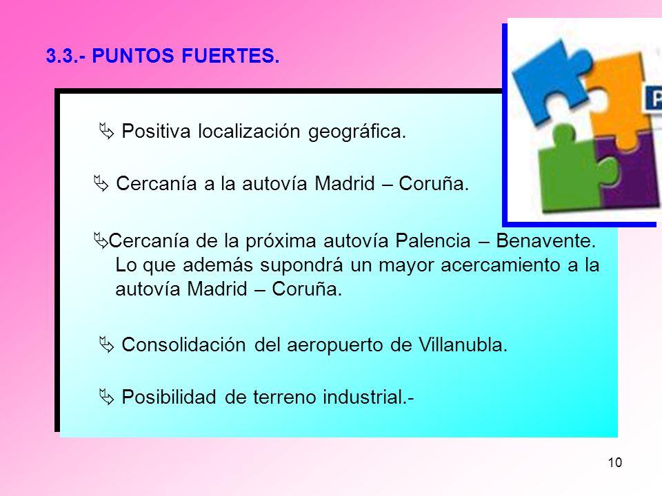 9 3.2.- AMENAZAS Mejor adecuación de otras zonas. Disponibilidad de terreno industrial urbanizado. Mejores servicios en general. Mano de obra cualific