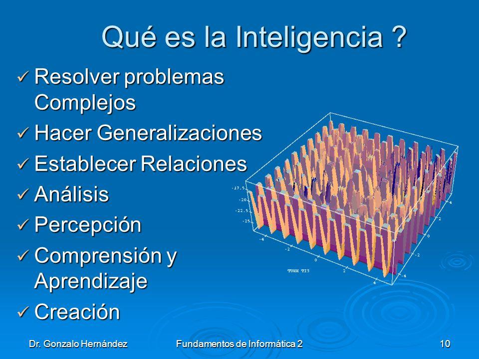 Dr. Gonzalo HernándezFundamentos de Informática 210 Qué es la Inteligencia ? Qué es la Inteligencia ? Resolver problemas Complejos Resolver problemas