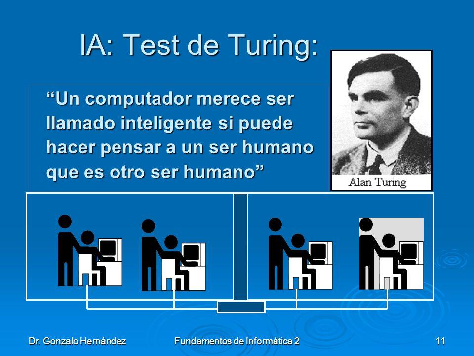 Dr. Gonzalo HernándezFundamentos de Informática 211 IA: Test de Turing: IA: Test de Turing: Un computador merece ser llamado inteligente si puede hace