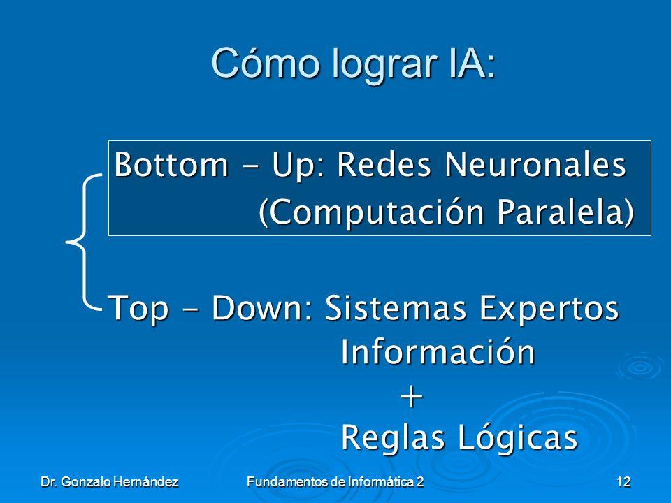 Dr. Gonzalo HernándezFundamentos de Informática 212 Cómo lograr IA: Cómo lograr IA: Bottom - Up: Redes Neuronales (Computación Paralela) (Computación