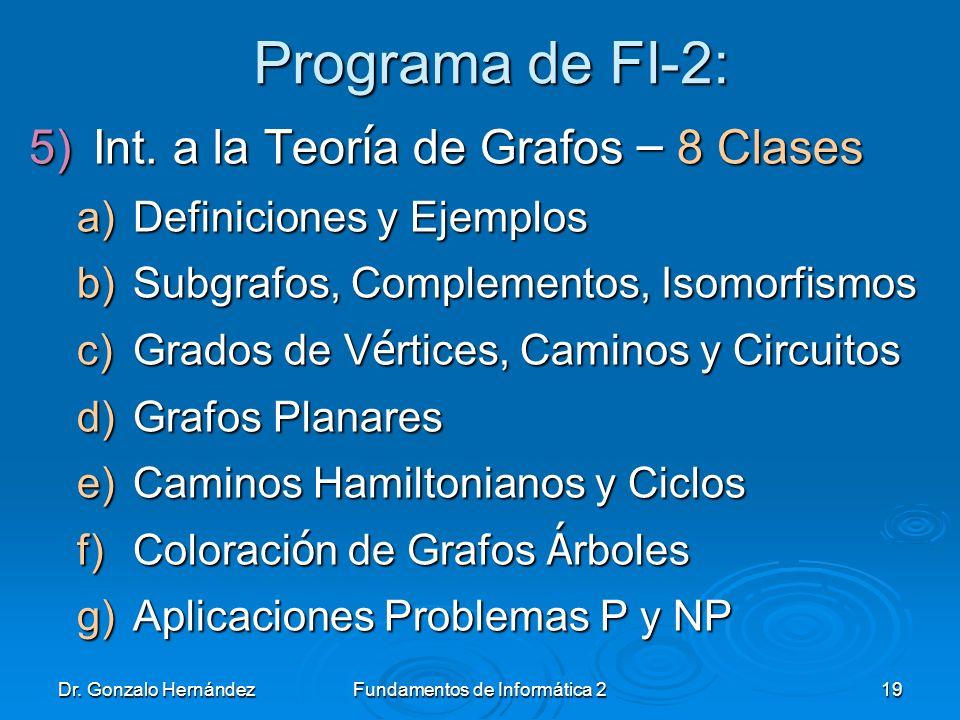 Dr. Gonzalo HernándezFundamentos de Informática 219 Programa de FI-2: 5)Int. a la Teor í a de Grafos – 8 Clases a)Definiciones y Ejemplos b)Subgrafos,