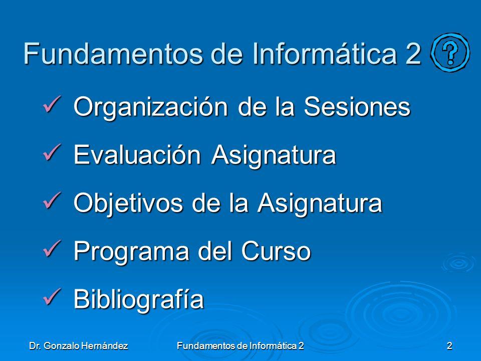 Dr. Gonzalo HernándezFundamentos de Informática 22 Organización de la Sesiones Organización de la Sesiones Evaluación Asignatura Evaluación Asignatura