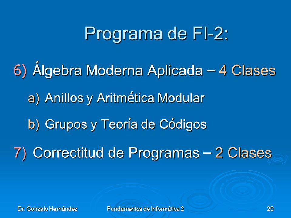 Dr. Gonzalo HernándezFundamentos de Informática 220 Programa de FI-2: 6)Á lgebra Moderna Aplicada – 4 Clases a)Anillos y Aritm é tica Modular b)Grupos