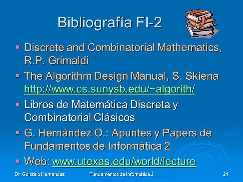 Dr. Gonzalo HernándezFundamentos de Informática 221 Bibliografía FI-2 Discrete and Combinatorial Mathematics, R.P. Grimaldi Discrete and Combinatorial