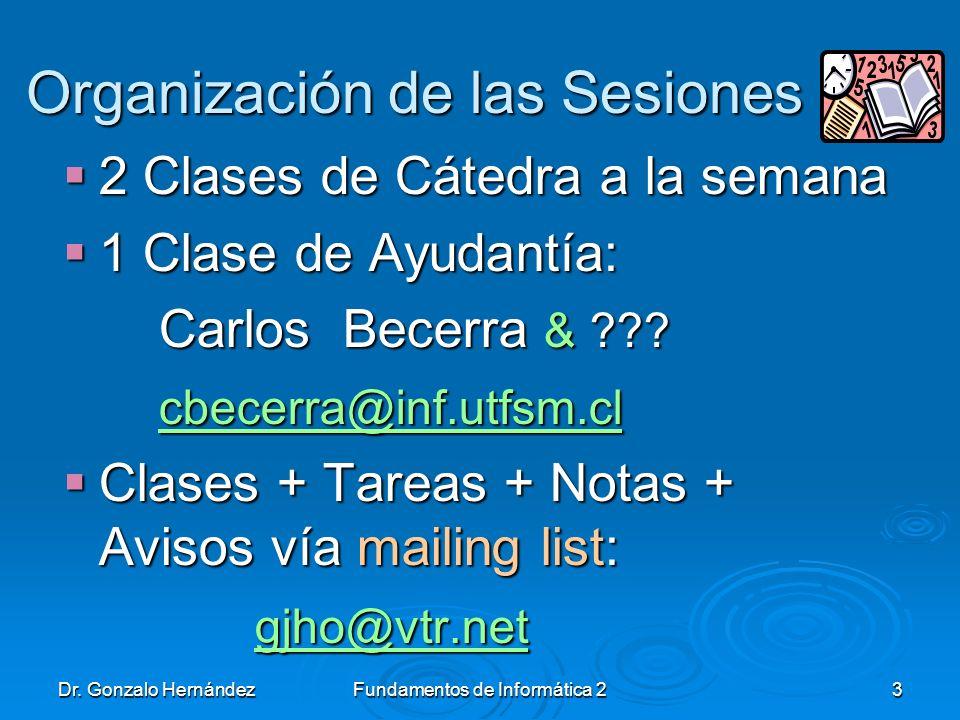 Dr. Gonzalo HernándezFundamentos de Informática 23 Organización de las Sesiones Organización de las Sesiones 2 Clases de Cátedra a la semana 2 Clases