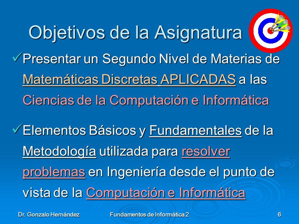 Dr. Gonzalo HernándezFundamentos de Informática 26 Objetivos de la Asignatura Objetivos de la Asignatura Presentar un Segundo Nivel de Materias de Mat