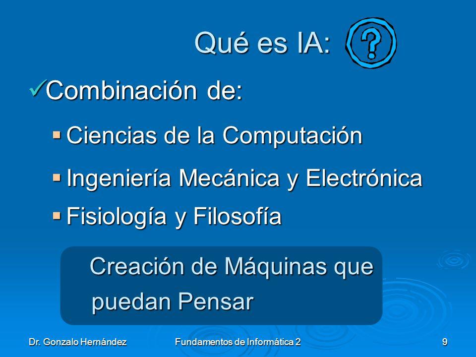 Dr. Gonzalo HernándezFundamentos de Informática 29 Qué es IA: Combinación de: Combinación de: Ciencias de la Computación Ciencias de la Computación In