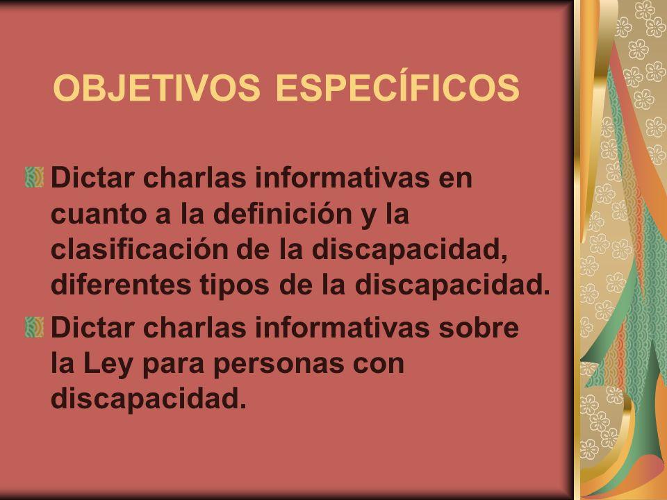 OBJETIVOS ESPECÍFICOS Dictar charlas informativas en cuanto a la definición y la clasificación de la discapacidad, diferentes tipos de la discapacidad
