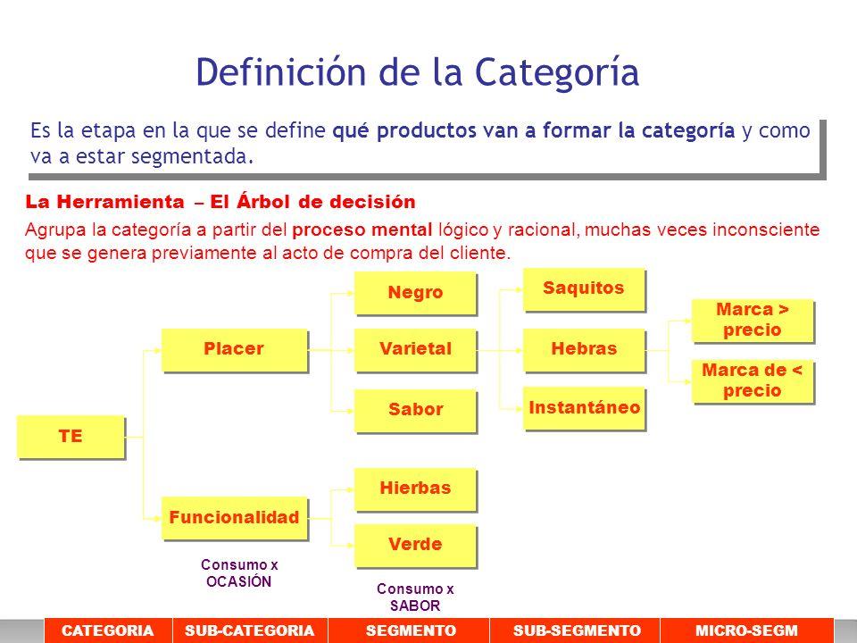 Definición de la Categoría Es la etapa en la que se define qué productos van a formar la categoría y como va a estar segmentada. CATEGORIASUB-CATEGORI