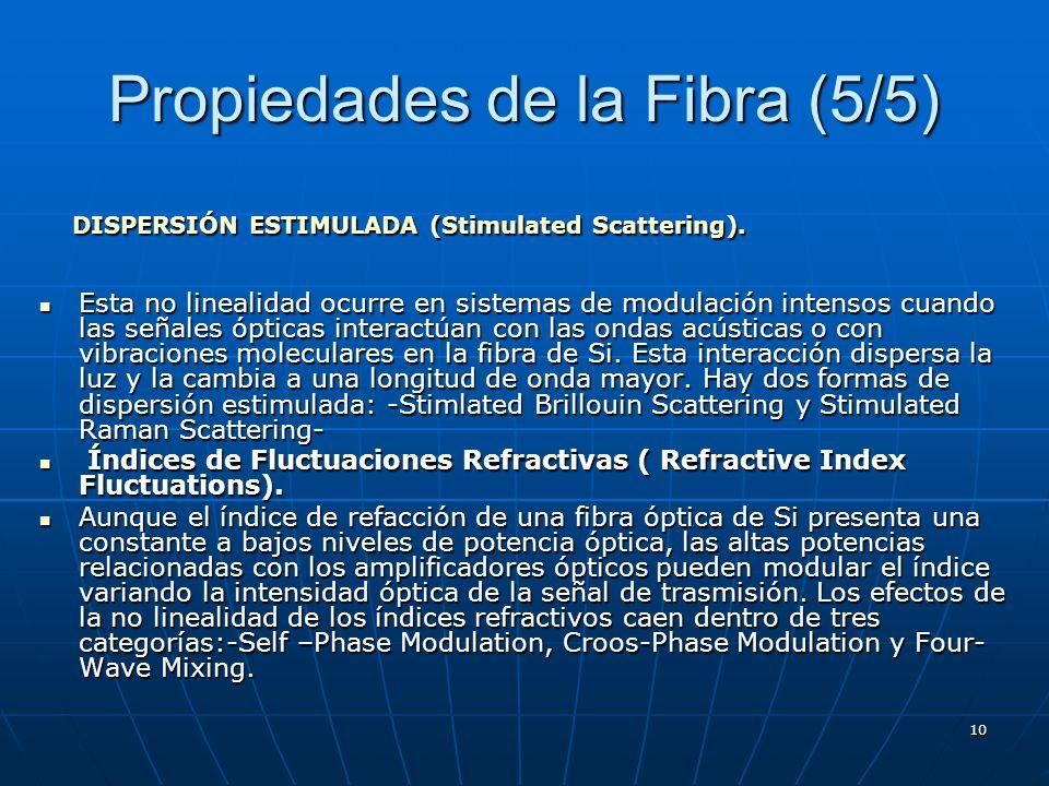 10 Propiedades de la Fibra (5/5) Esta no linealidad ocurre en sistemas de modulación intensos cuando las señales ópticas interactúan con las ondas acú