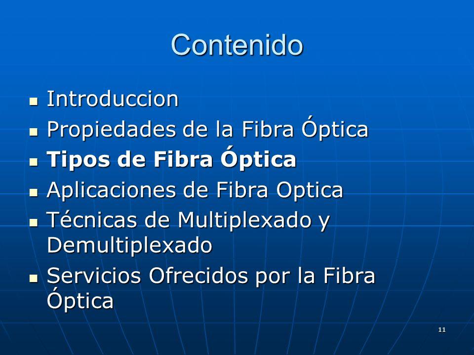 11 Contenido Introduccion Introduccion Propiedades de la Fibra Óptica Propiedades de la Fibra Óptica Tipos de Fibra Óptica Tipos de Fibra Óptica Aplic