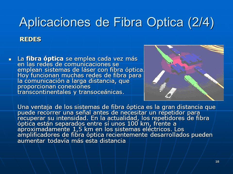 18 Aplicaciones de Fibra Optica (2/4) La fibra óptica se emplea cada vez más en las redes de comunicaciones se emplean sistemas de láser con fibra ópt