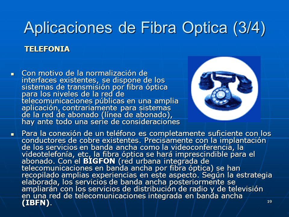 19 Aplicaciones de Fibra Optica (3/4) Con motivo de la normalización de interfaces existentes, se dispone de los sistemas de transmisión por fibra ópt