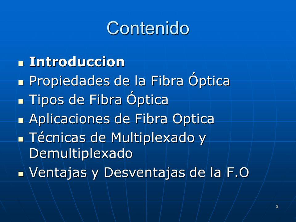 2 Contenido Introduccion Introduccion Propiedades de la Fibra Óptica Propiedades de la Fibra Óptica Tipos de Fibra Óptica Tipos de Fibra Óptica Aplica