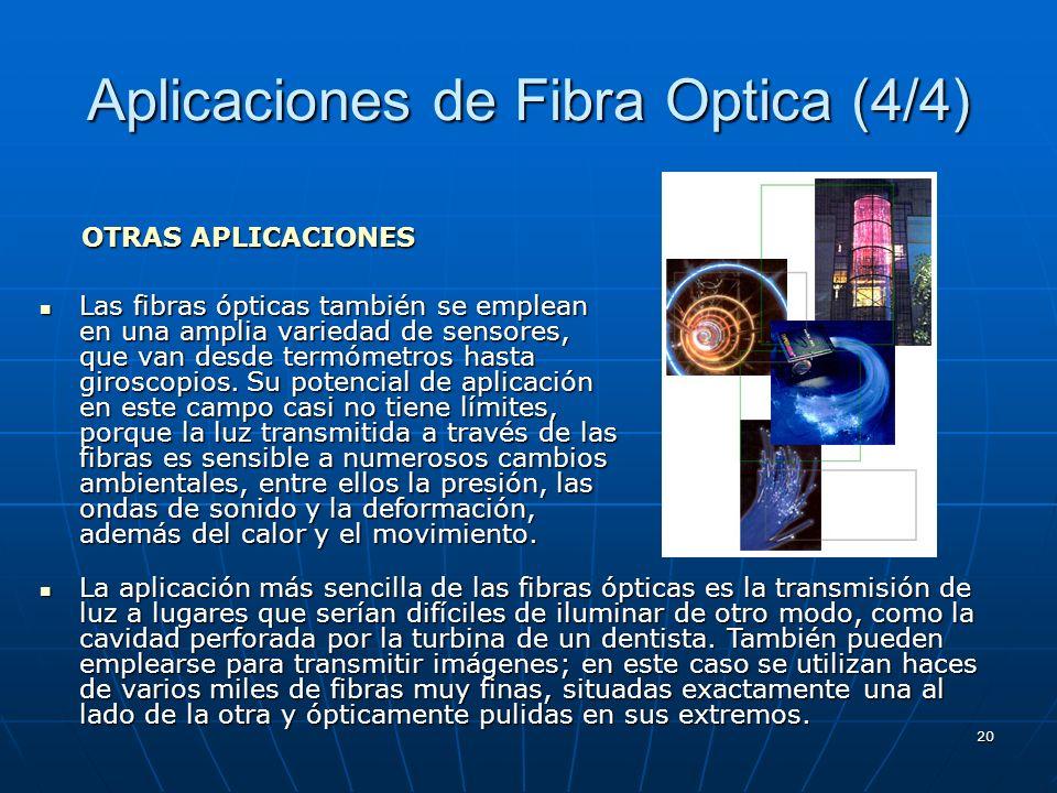 20 Aplicaciones de Fibra Optica (4/4) Las fibras ópticas también se emplean en una amplia variedad de sensores, que van desde termómetros hasta girosc