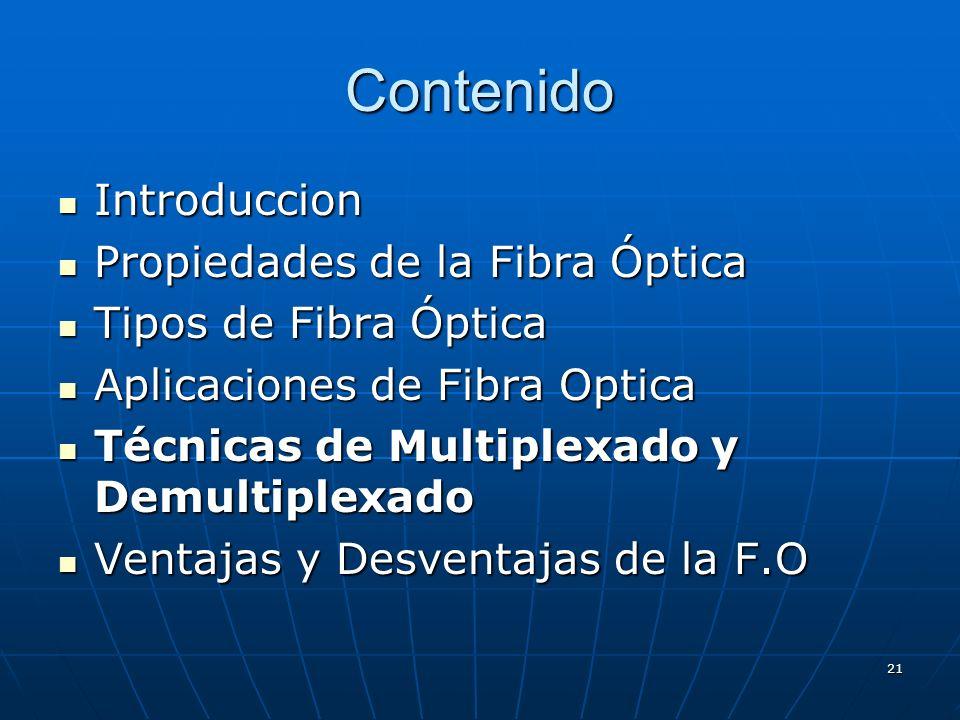 21 Contenido Introduccion Introduccion Propiedades de la Fibra Óptica Propiedades de la Fibra Óptica Tipos de Fibra Óptica Tipos de Fibra Óptica Aplic