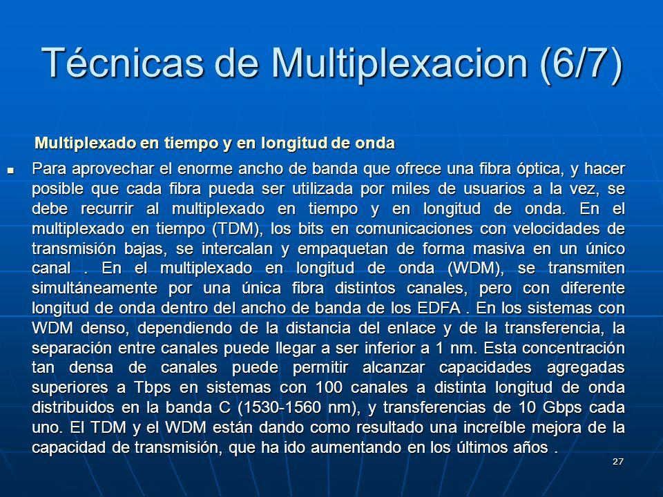 27 Técnicas de Multiplexacion (6/7) Multiplexado en tiempo y en longitud de onda Para aprovechar el enorme ancho de banda que ofrece una fibra óptica,