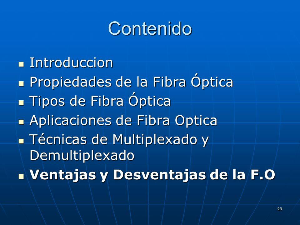 29 Contenido Introduccion Introduccion Propiedades de la Fibra Óptica Propiedades de la Fibra Óptica Tipos de Fibra Óptica Tipos de Fibra Óptica Aplic