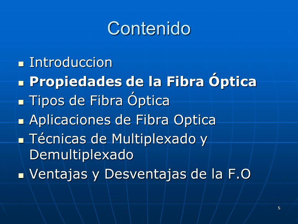 5 Contenido Introduccion Introduccion Propiedades de la Fibra Óptica Propiedades de la Fibra Óptica Tipos de Fibra Óptica Tipos de Fibra Óptica Aplica