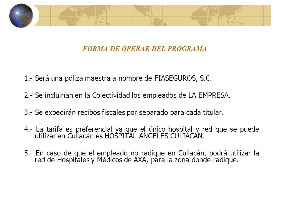 FORMA DE OPERAR DEL PROGRAMA 1.- Será una póliza maestra a nombre de FIASEGUROS, S.C. 2.- Se incluirían en la Colectividad los empleados de LA EMPRESA