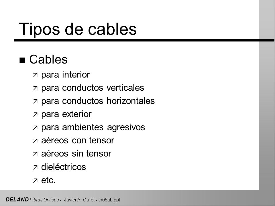 DELAND Fibras Opticas - Javier A. Ouret - cr05ab.ppt Tipos de cables n Cables ä para interior ä para conductos verticales ä para conductos horizontale
