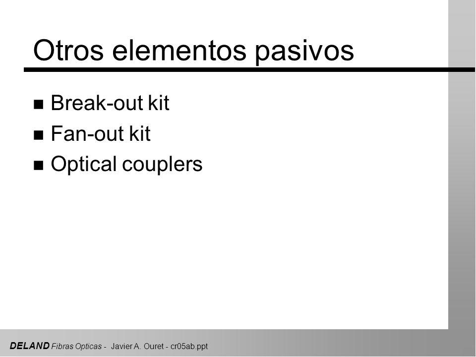 DELAND Fibras Opticas - Javier A. Ouret - cr05ab.ppt Otros elementos pasivos n Break-out kit n Fan-out kit n Optical couplers