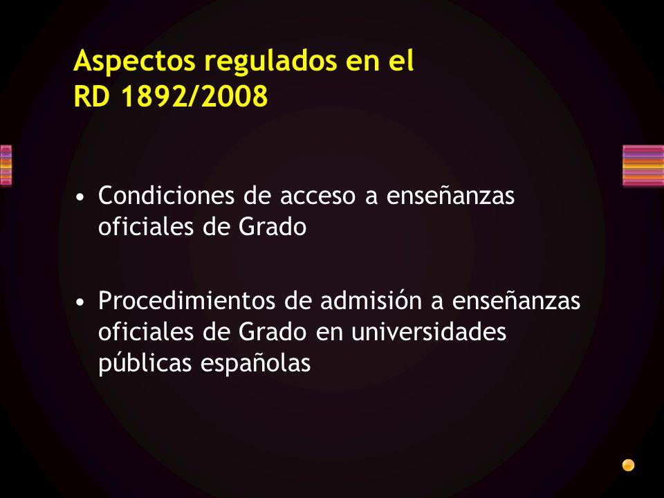 Aspectos regulados en el RD 1892/2008 Condiciones de acceso a enseñanzas oficiales de Grado Procedimientos de admisión a enseñanzas oficiales de Grado en universidades públicas españolas