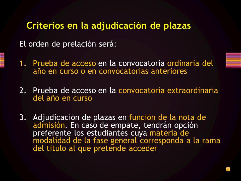 Criterios en la adjudicación de plazas El orden de prelación será: 1.Prueba de acceso en la convocatoria ordinaria del año en curso o en convocatorias anteriores 2.Prueba de acceso en la convocatoria extraordinaria del año en curso 3.Adjudicación de plazas en función de la nota de admisión.