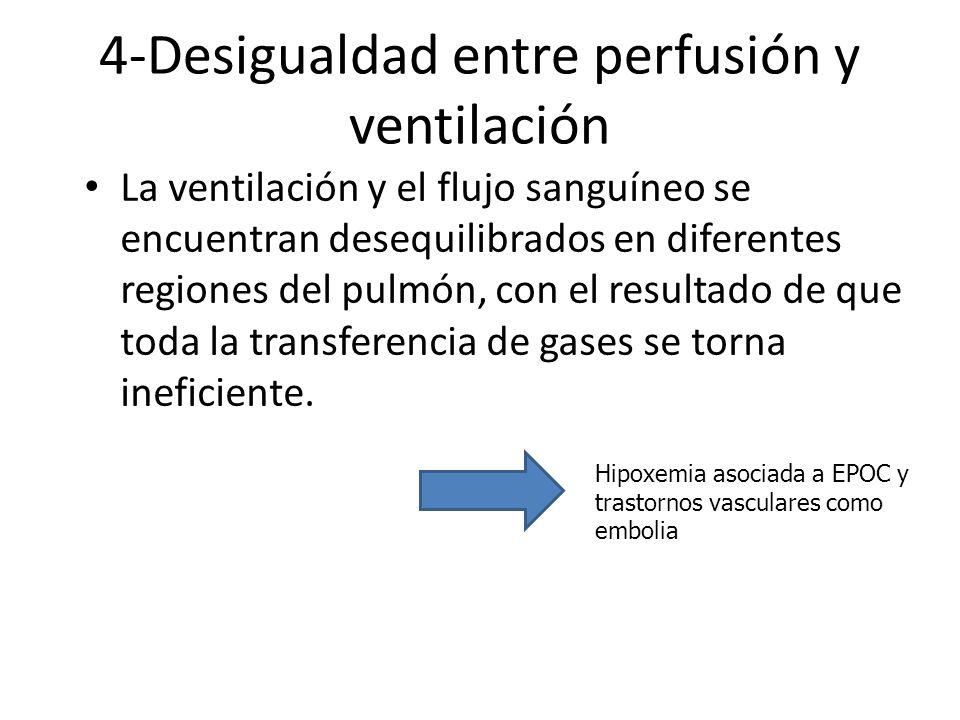 4-Desigualdad entre perfusión y ventilación La ventilación y el flujo sanguíneo se encuentran desequilibrados en diferentes regiones del pulmón, con e