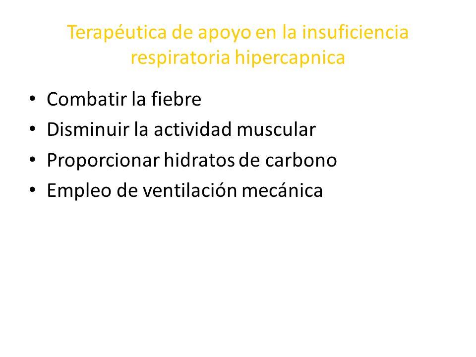 Terapéutica de apoyo en la insuficiencia respiratoria hipercapnica Combatir la fiebre Disminuir la actividad muscular Proporcionar hidratos de carbono