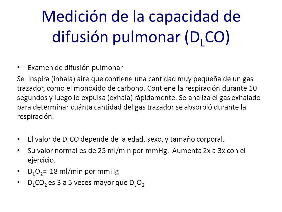 Medición de la capacidad de difusión pulmonar (D L CO) Examen de difusión pulmonar Se inspira (inhala) aire que contiene una cantidad muy pequeña de u