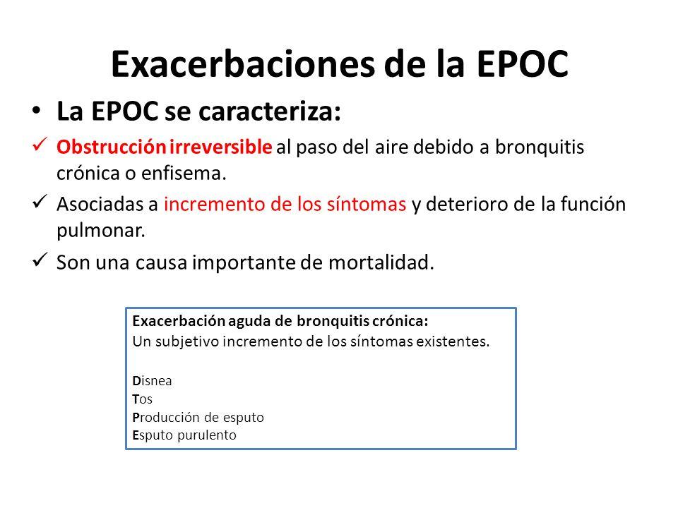 Exacerbaciones de la EPOC La EPOC se caracteriza: Obstrucción irreversible al paso del aire debido a bronquitis crónica o enfisema. Asociadas a increm