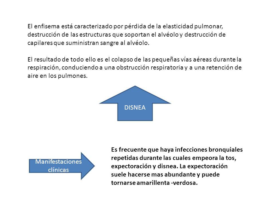 El enfisema está caracterizado por pérdida de la elasticidad pulmonar, destrucción de las estructuras que soportan el alvéolo y destrucción de capilar