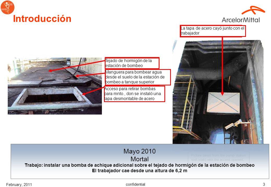 confidential February, 2011 2 Introducción Diciembre 2010 Mortal Trabajo: retirada de una carga colgada (limpieza de bunker), por un equipo de tres pe