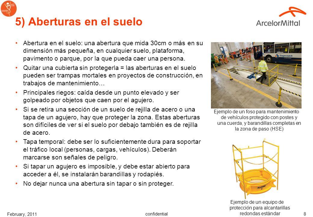 confidential February, 2011 7 Diferentes soluciones Usar la jerarquía de control –Eliminación –Sustitución –Ingeniería –Organizativo –Equipos de prote