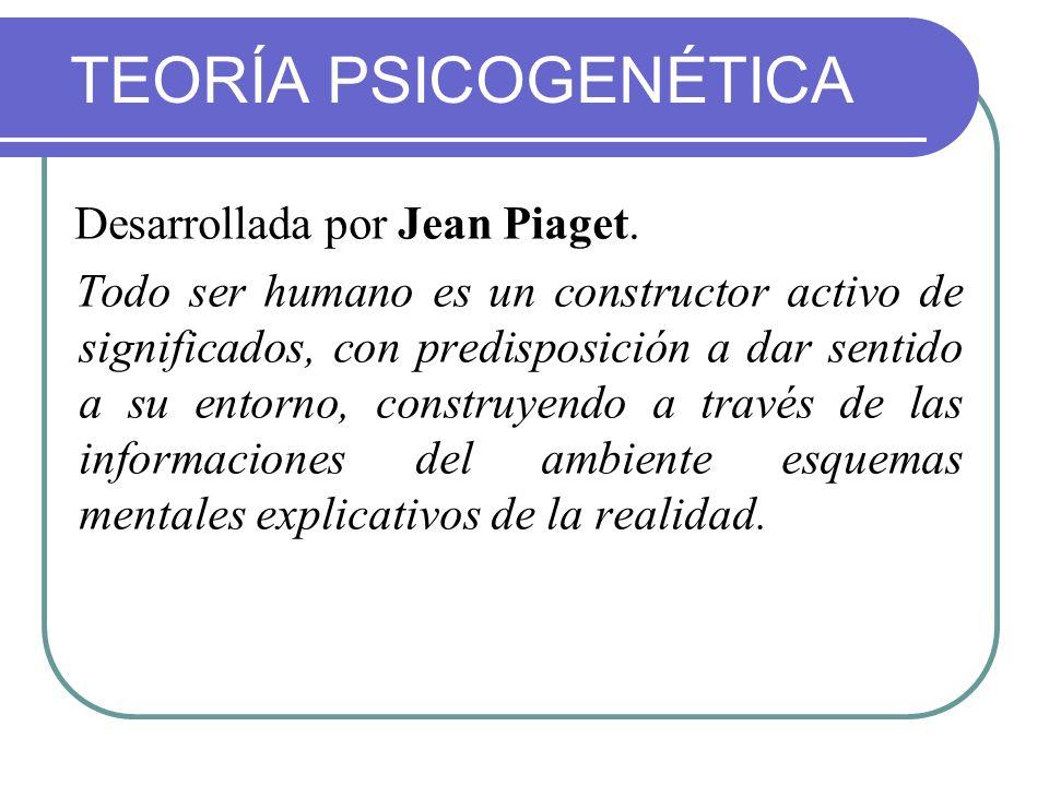 TEORÍA PSICOGENÉTICA Desarrollada por Jean Piaget. Todo ser humano es un constructor activo de significados, con predisposición a dar sentido a su ent