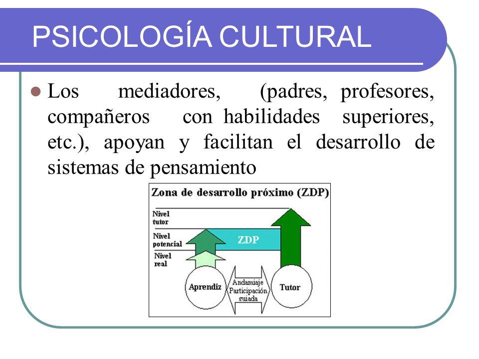 Los mediadores, (padres, profesores, compañeros con habilidades superiores, etc.), apoyan y facilitan el desarrollo de sistemas de pensamiento PSICOLO