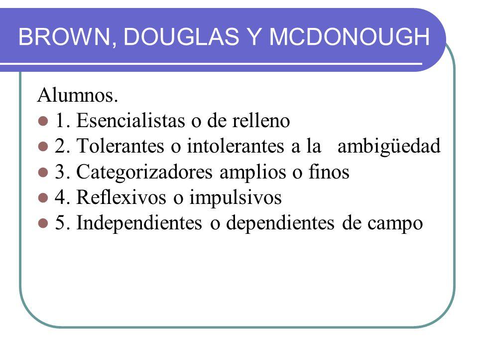 BROWN, DOUGLAS Y MCDONOUGH Alumnos. 1. Esencialistas o de relleno 2. Tolerantes o intolerantes a la ambigüedad 3. Categorizadores amplios o finos 4. R