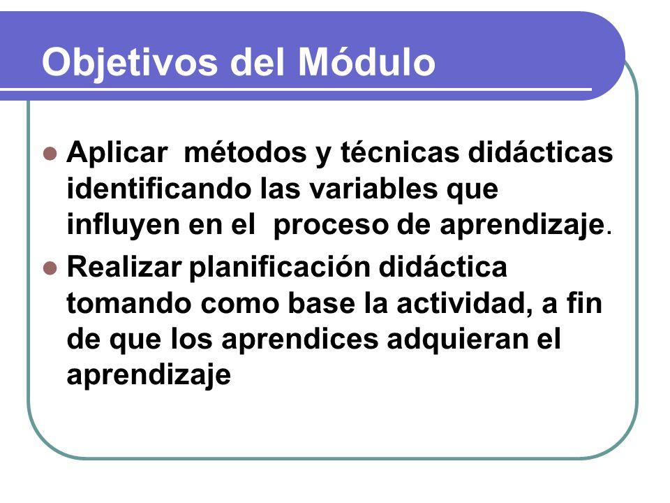 Objetivos del Módulo Aplicar métodos y técnicas didácticas identificando las variables que influyen en el proceso de aprendizaje. Realizar planificaci