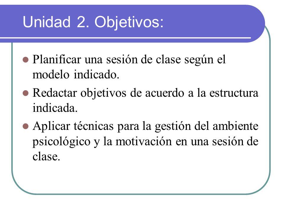 Unidad 2. Objetivos: Planificar una sesión de clase según el modelo indicado. Redactar objetivos de acuerdo a la estructura indicada. Aplicar técnicas