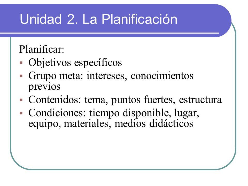 Planificar: Objetivos específicos Grupo meta: intereses, conocimientos previos Contenidos: tema, puntos fuertes, estructura Condiciones: tiempo dispon