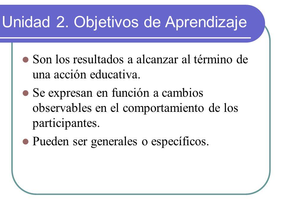 Son los resultados a alcanzar al término de una acción educativa. Se expresan en función a cambios observables en el comportamiento de los participant