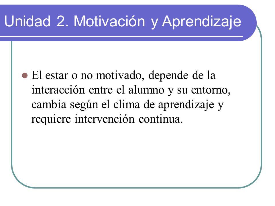 El estar o no motivado, depende de la interacción entre el alumno y su entorno, cambia según el clima de aprendizaje y requiere intervención continua.