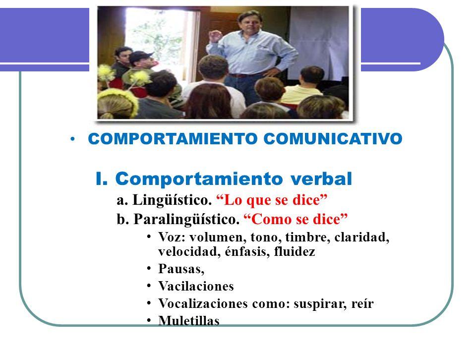 COMPORTAMIENTO COMUNICATIVO I. Comportamiento verbal a. Lingüístico. Lo que se dice b. Paralingüístico. Como se dice Voz: volumen, tono, timbre, clari