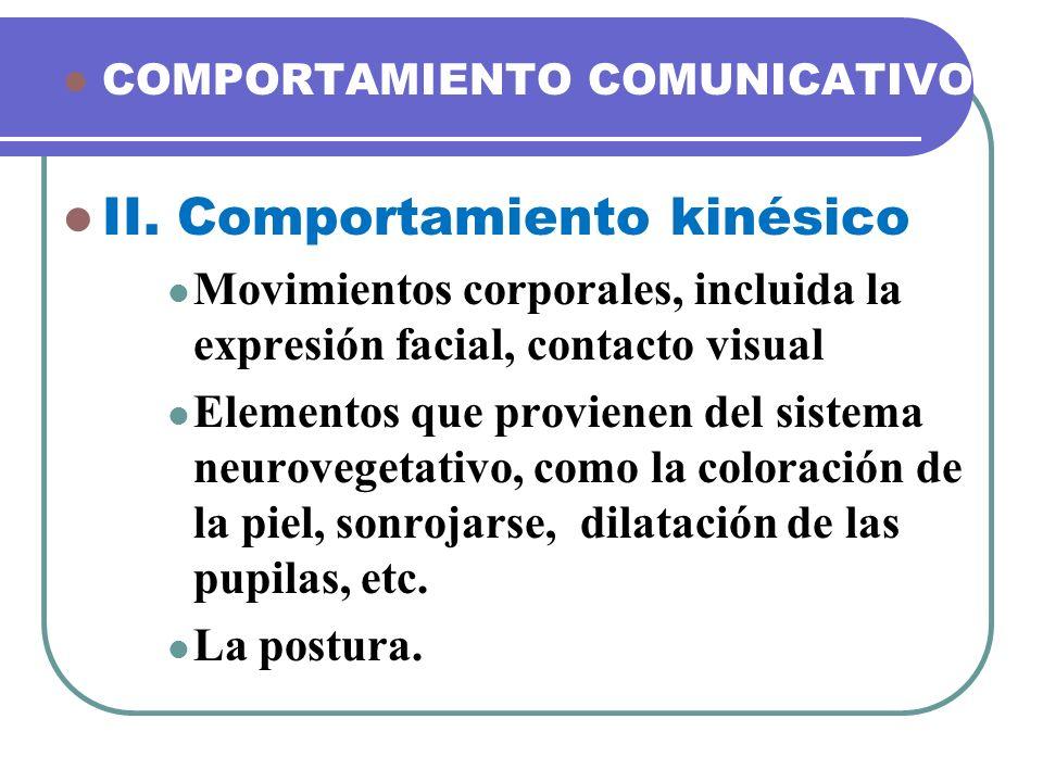 COMPORTAMIENTO COMUNICATIVO II. Comportamiento kinésico Movimientos corporales, incluida la expresión facial, contacto visual Elementos que provienen